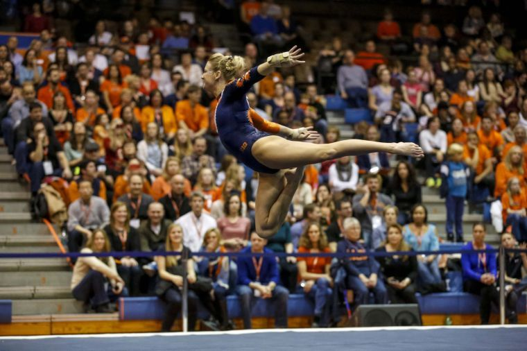 Illinois' Amber See competes her floor exercise routine during the Gym Jam at Huff Hall on Saturday, March 8.