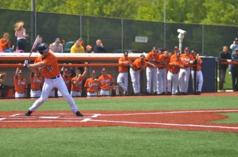 David Kerian bats during the game against Penn State on May 11. The Illini won 8-6.