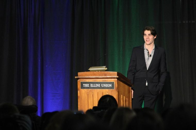 RJ Mitte, who played Walt Jr. on AMC's Breaking Bad, gave a lecture at the Illini Union Tuesday night.