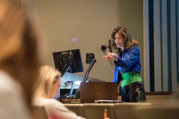 Professor Ellen Fireman teaching Statistics 100 class at Lincoln hall theater on Apr. 17.