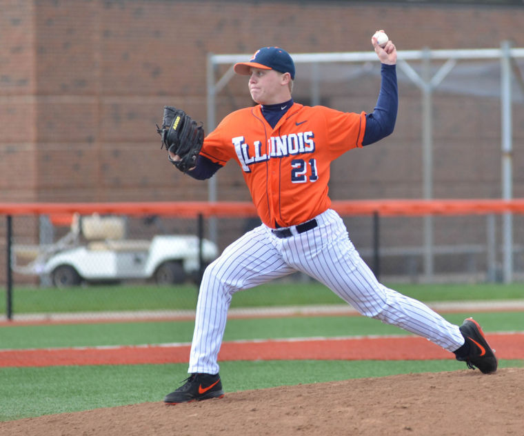 Kevin Duchene pitches against Purdue on April 13, 2013. Duchene is heading into his junior season pitching for Illinois.
