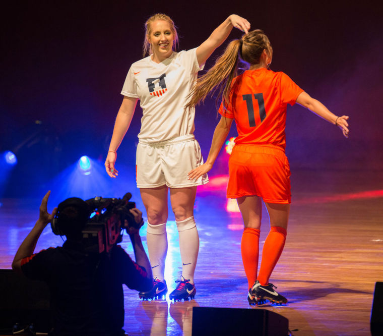 Brenton+Tse+The+Daily+Illini+Illinois+soccer+players+Hope+D%27Addario+and+Claire+Wheatley+model+the+new+Fighting+Illini+soccer+uniform+during+the+Nike+Brand+Identity+Launch+at+Krannert+Center+for+the+Performing+Arts%2C+on+Wednesday%2C+April+16%2C+2014.