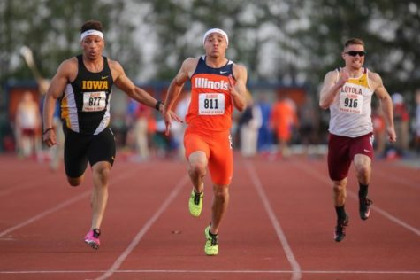 Illinois' Brandon Stryganek runs the 100 meter dash during the Illinois Twilight Track and Field meet at Illinois Soccer and Track Stadium on April 12.