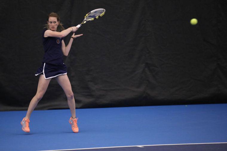 Illinois' Allison Falkin attempts to return the ball during the meet against Nebraska, at Atkins Tennis Center, on Sunday. The Illini won 4-2.