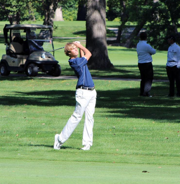 Illini sophomore golfer Thomas Detry watches his shot at a previous event this season. Detry helped Illinois finish 2nd at the Boilermaker Invitational this weekend.