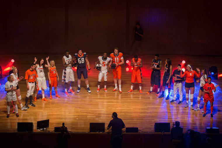 Illinois student-athletes line up on stage during the Nike Brand Identity Launch at Krannert Center for the Performing Arts, on Wednesday.