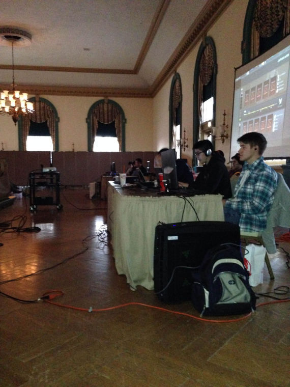 Players get ready to play at the Union Ballroom in eSport tournament, organized by University student Qianbo Liu. Final teams competed for a prize of $400.
