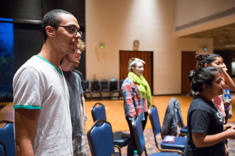 "Members of Illini Student Musicals rehearse together on March 21. ""In Progress: A Broadway Revue"" will debut Thursday at 7:30 pm in Lincoln Hall Theatre."