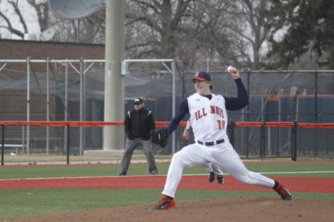 Illinois' Rob McDonnell (16) pitches the ball during the game against Indiana State at Illinois Field on Tuesday, Mar. 18, 2014. The Illini won 8-0.