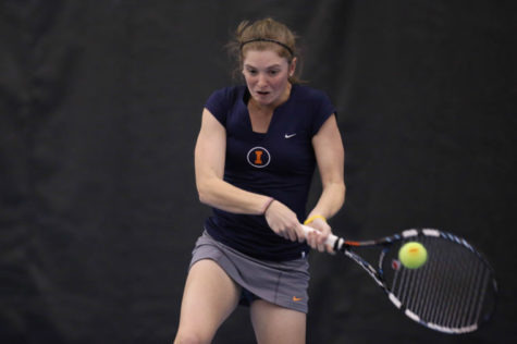Illinois' Alexis Casati returns the ball against Northwestern at Atkins Tennis Center, on March 8. The Illini look to continue their 4-game winning streak as they head to the state of Michigan this weekend.