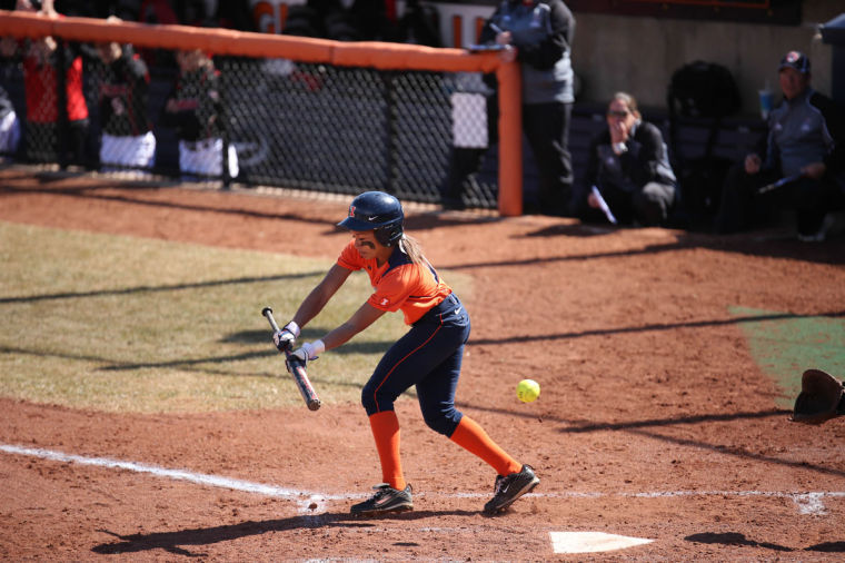 Illinois' Alex Booker swings at a pitch against Nebraska on March 15.