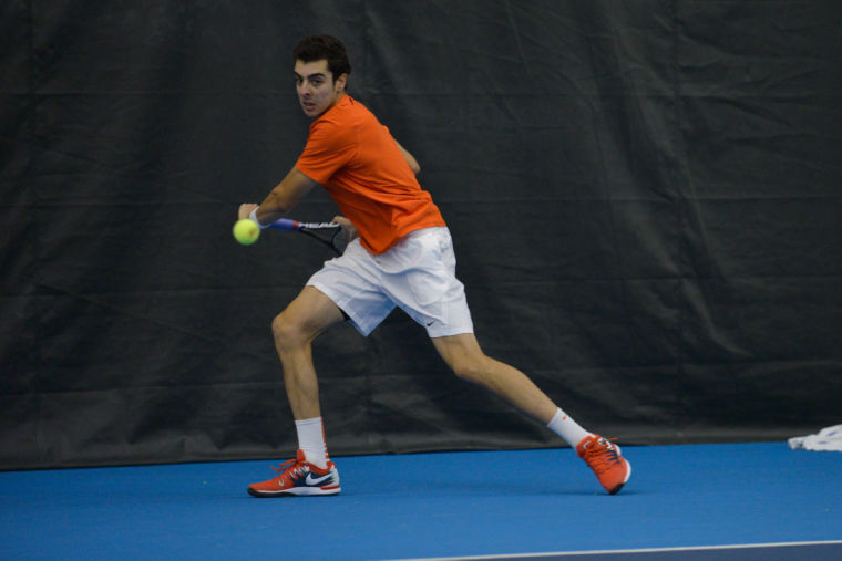 Illinois' Farris Gosea hits the ball during the match against No. 8 Texas at Atkins Tennis Center on Feb. 9. The Illini won 4-3.
