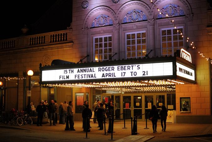 The marquee at The Virginia Theatre during Roger Ebert's Film Festival.