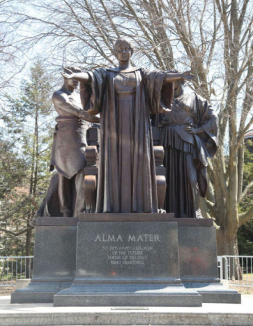 The+Alma+Mater+statue+arrived+on+campus+Wednesday+and+was+placed+safely+back+on+her+base.%C2%A0
