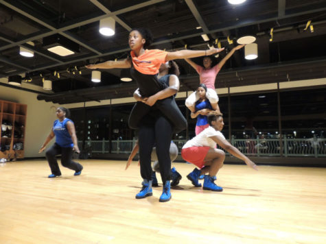 Members of Zeta Phi Beta Sorority, Inc.'s Nu Delta chapter rehearse on Tuesday night in the ARC for their performance in the 2014 Stepdown Show. Saturday's show will have one of the largest represented list of performers in the event's history.