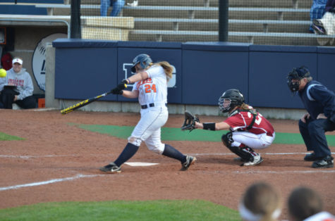 Jenna Mychko bats during the second game of a double header against Indiana on Saturday at Eichelberger Field. The Illini won 1-0.