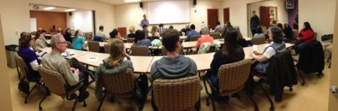 Students and community members gather for the April forum on Mental Health Disparities in the Criminal Justice System, led by Dr. Matt Epperson from the University of Chicago, on Thursday in the School of Social Work.