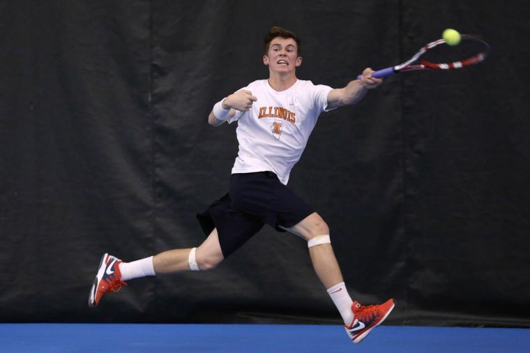 Illinois' Ross Guignon attempts to return the ball during the meet against Pepperdine on March 14. The Illini will play in the Big Ten tournament.