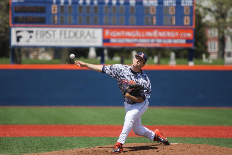 Illinois' John Kravetz (23) throws a pitch during the Illinois-Michigan State baseball game at Illinois Field on Saturday, May 3, 2014. The Illini won 5-4.