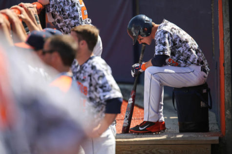Illinois' Casey Fletcher (3) waits for his turn at bat during the game against Michigan State at Illinois Field on Saturday, May 3, 2014. The Illini won 5-4.