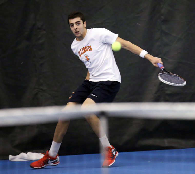 Illinois Ferris Gosea attempts to return the ball during the meet against Pepperdine, at Atkins Tennis Center, on Mar. 14, 2014. The Illini won 5-0.