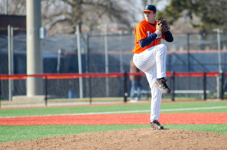 Pitcher Rob McDonnell winds up for a pitch during the Fighting Illini Baseball game against Nebraska on March 23. The Fighting Illini won the first game 8-7 but lost the second game 6-4. After intermittent injuries, McDonnell is finally getting back to the mound.