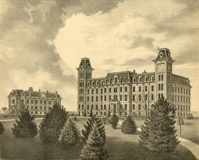 University Hall was constructed in 1870 where the Illini Union is now. To the left is Harker Hall, the only remaining building from that time.