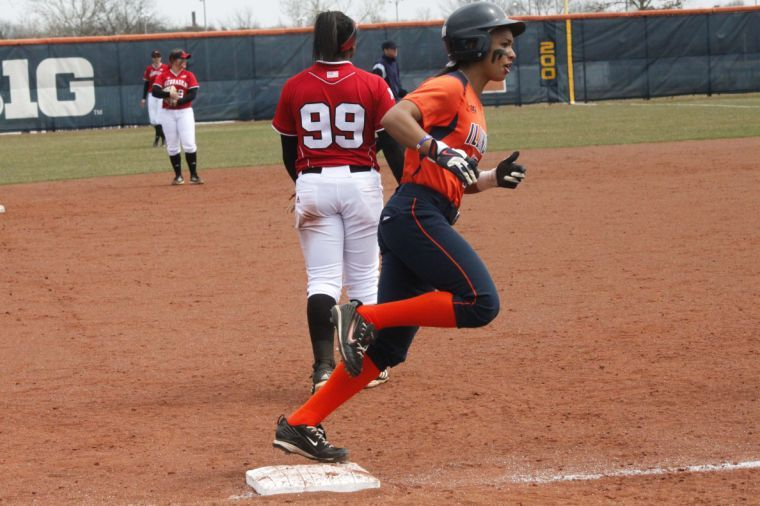 Illinois%27+Alex+Booker+%2815%29+rounds+third+base+after+Jenna+Mychko+%28not+pictured%29+hits+a+home+run+during+the+game+against+Nebraska+on+April+6.+The+Illini+lost+12-3+in+five+innings.