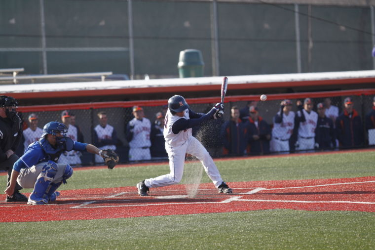 Illinois' Will Krug (40) hits the ball during the game against Indiana State at Illinois Field on Tuesday, Mar. 18, 2014. The Illini won 8-0.