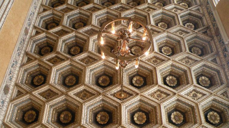 The chandelier and ceiling are both original to the Virginia Theater, which hosts weekly guided tours every Wednesday.