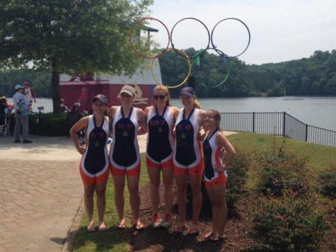 Pictured from left-to-right: Dana Brecklin, Diana Montgomery, Elizabeth Dunne, Katie Ruhl, and coxswain Adele Rehkemper, members of the women's novice 4-plus rowing team. The team recently won its second national championship in Georgia.