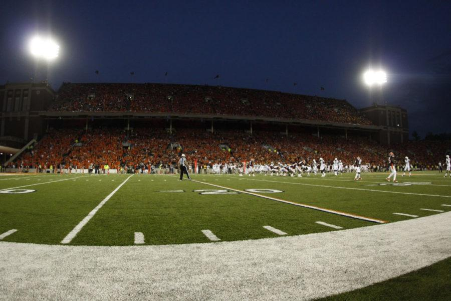 The Illinois football team will play its season opener against Kent State on September 4, a Friday night. The Illini are trying new methods to increase attendance. Illinois played under the lights against Arizona State at Memorial Stadium on Saturday, Sept. 17, 2011. The Illini won 17-14.