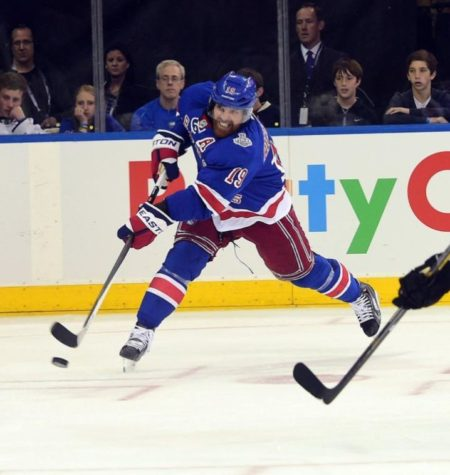 Thomas A. Ferrara McClatchy-Tribune New York Rangers center Brad Richards puts a shot on net in the second period in Game 3 of the Stanley Cup Finals in New York on June 9, 2014.
