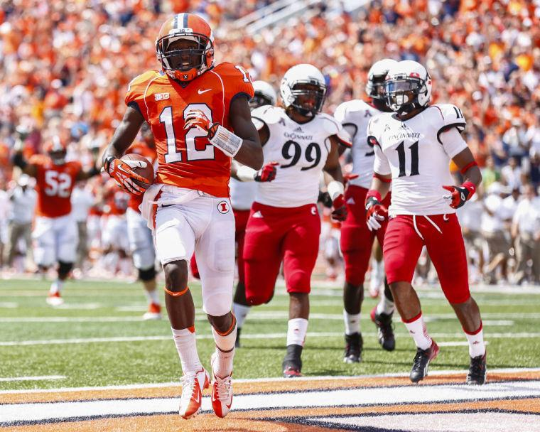 Illinois' Ryan Lankford runs in a touchdown at Memorial Stadium on Sept. 7. Memorial Stadium is just one of many places Illini fans choose to watch and support the team as they play.