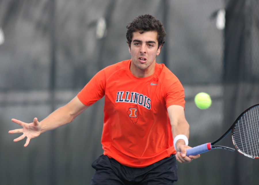Illinois%E2%80%99+Farris+Gosea+hits+the+ball+back+during+the+first+round+of+NCAA+Tennis+Regionals+against+Ball+State+University+at+Khan+Outdoor+Tennis+Complex+on+Friday%2C+May+9.%C2%A0