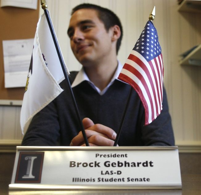 Brock+Gebhardt+sits+in+the+Illinois+Student+Senate+office+during+his+tenure+as+student+body+president.