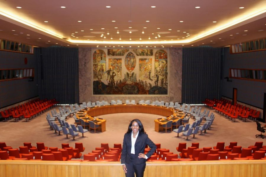 Cristina Valdez stands in the United Nations' Security Council Chamber in New York City in June. Valdez was one of the few applicants accepted into the U.N.'s internship program this last summer.