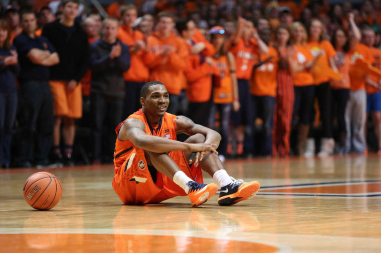 Illinois point guard Tracy Abrams tore his right ACL in team workouts Monday. He will miss the entire 2014-15 season and will redshirt the season.