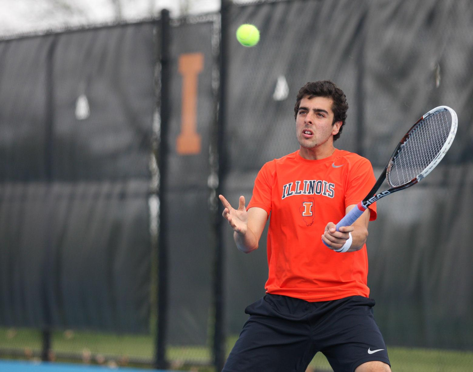 Illinois' Farris Gosea hits the ball back during the first round of NCAA Tennis Regionals against Ball State University at Khan Outdoor Tennis Complex on Friday, May 9, 2014. The Illini won 4-0.