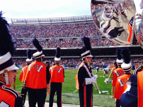 The Marching Illini performed during the Bears vs. Packers halftime show at Soldier Field at 3 p.m. on Sunday, followed by a performance at Navy Pier.