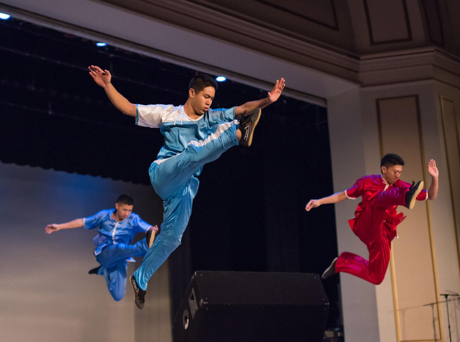 The Wushu Club performs martial arts at the annual Moon Gala, a Chinese cultural event to celebrate the Mid-Autumn festival.