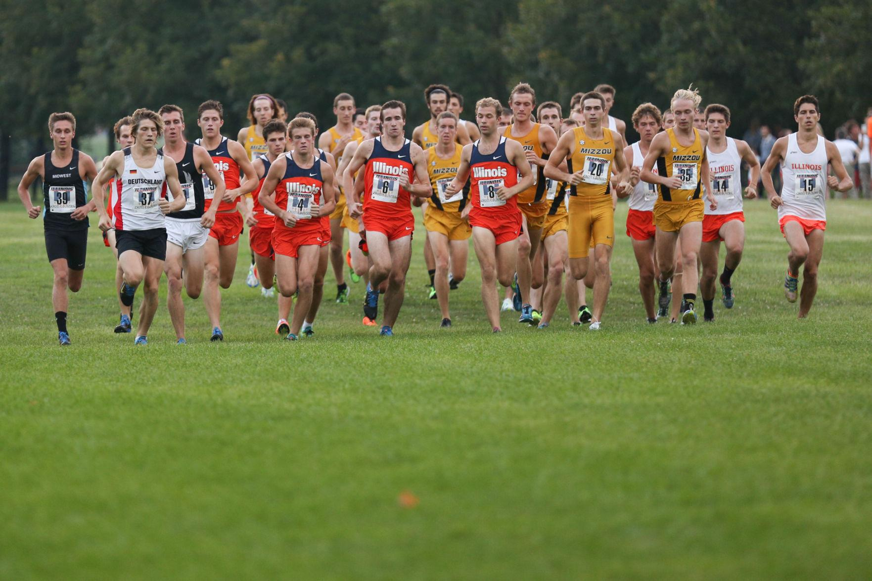 The Fighting Illini men's track and cross-country team start their race during the Illini Challenge at the UI Arboretum on Aug. 29. After a three week break, the Illini will head to the Roy Griak Invite in Minnesota on Saturday.