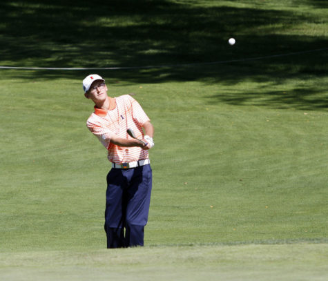 Junior Dylan Meyer swings during the final round at the Olympia Fields Country Club during the Fighting Illini Invitational in Olympia Fields, Illinois.