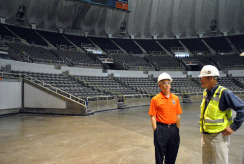 Hood showing a tour of State Farm Center during it's rennovation