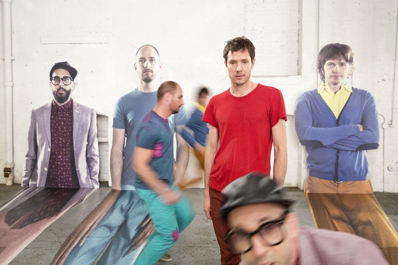 OK GO on the set of The Writing's On The Wall Brookyn NY June 2014 Photograph by Gus Powell