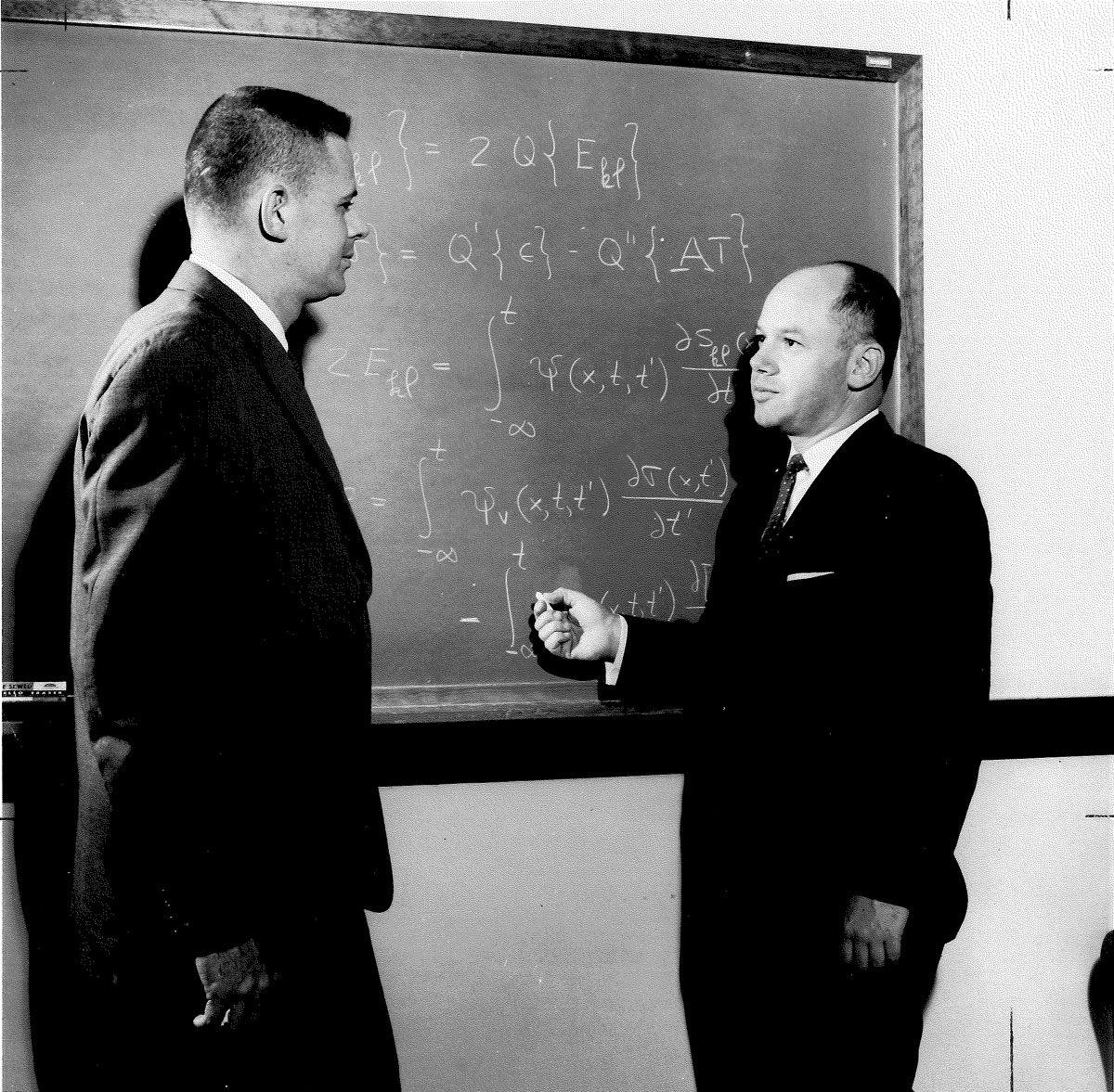 Dr. Harry Hilton, professor emeritus in Aerospace Engineering, right, with former Ph.D student Alister Fraser in 1965.