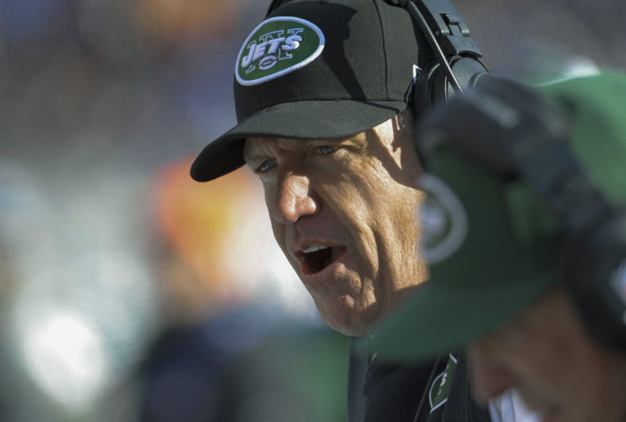 New+York+Jets+head+coach+Rex+Ryan+talks+to+his+defense+on+the+bench+during+the+first+half+of+their+game+with+the+Ravens+in+Baltimore+on+Nov.+24%2C+2013.
