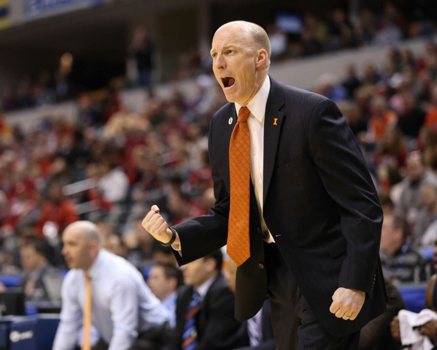 Illinois' head coach John Groce reacts to a referee's call during the first round game of the Big Ten Men's Basketball Tournament against Indiana, at Banker's Life Fieldhouse, on Thursday, Mar. 13, 2014. The Illini won 64-54.