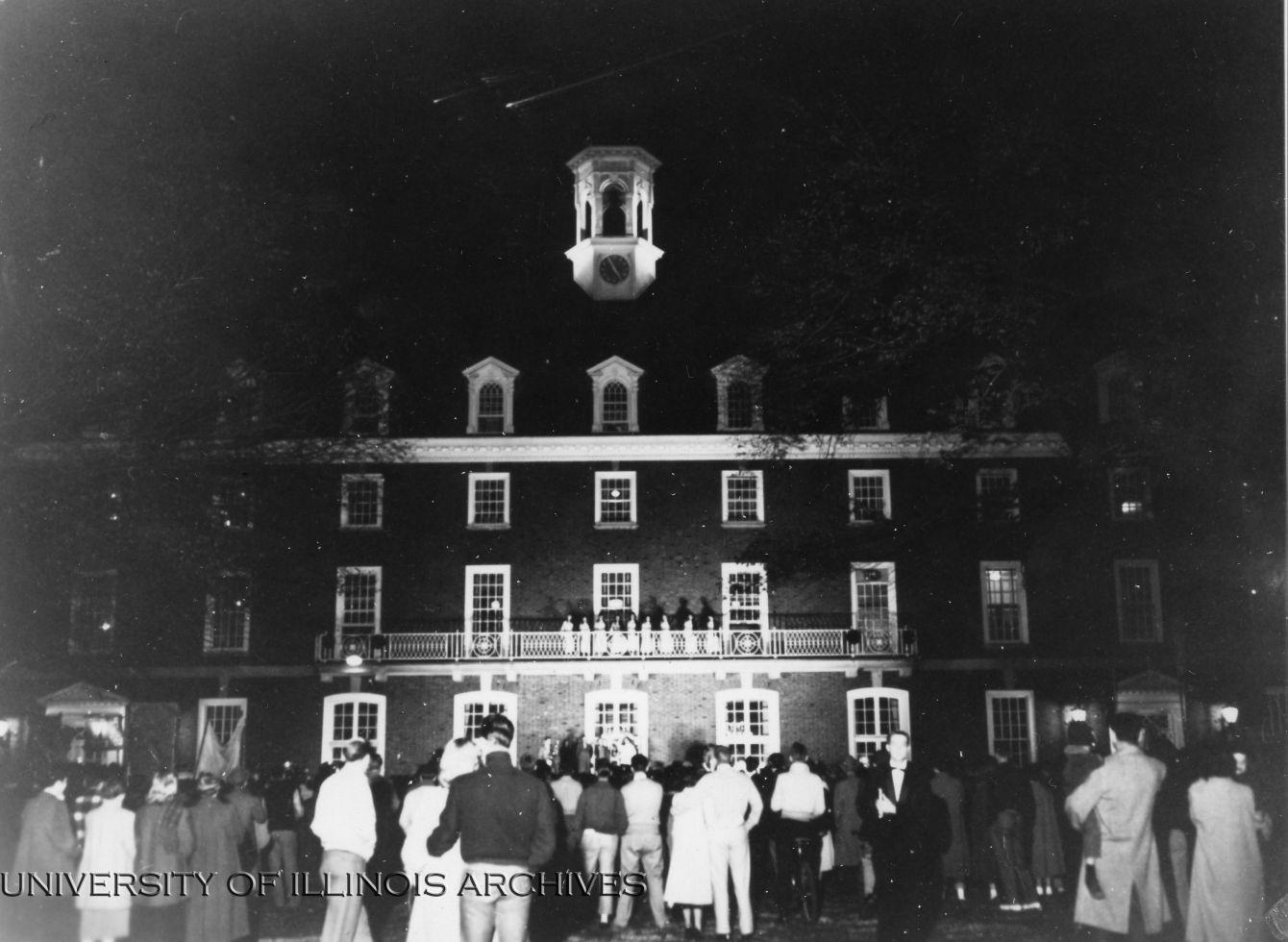 A+Homecoming+pep+rally+is+held+behind+the+student+Union+in+1954.