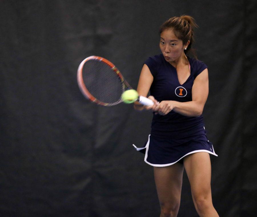 Illinois' Louise Kwong during the meet against Nebraska, at Atkins Tennis Center, on April 13, 2014. The Illini won 4-2.
